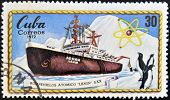 A stamp printed in Cuba shows atomic icebreaker Lenin S. XX