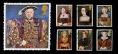 Stamps dedicated to The Great Tudor shows King Henry VIII and his six wives