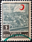stamp printed in Turkey shows red crescent