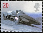 A stamp printed in Great Britain shows Sir Malcolm Campbell's Bluebird 1925