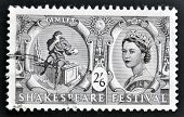 A stamp dedicated to Shakespeare Festival shows Hamlet and Queen Elizabeth II