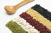 picture of tablespoon  - colorful striped rows of beans with wooden tablespoon - JPG