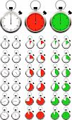 Set Of Vector Stopwatch Timers