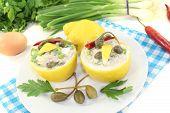 Stuffed Lemons With Tuna Cream, Capers And Eggs