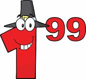 Price Tag Red Number 1.99 With Pilgrim Hat Cartoon Character