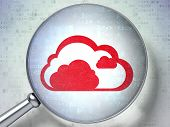 Cloud technology concept:  Cloud with optical glass on digital b