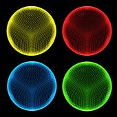 Dotted Spheres Rgb And Yellow