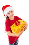 Girl in Santa hat with gift box