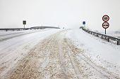 Main road after heavy snowfall