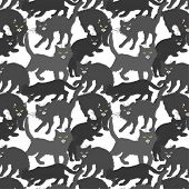 seamless background with black cats