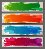 stock photo of stroking  - 4 bright banners with hand drawn brush strokes - JPG