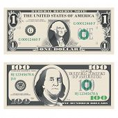1 and 100 highly detailed dollar bank notes