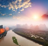 Yangshuo Landscape In Sunrise