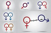 stock photo of gay symbol  - husband wife lovers gay lesbian couple family concept illustration using male female symbols - JPG