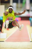 LINZ, AUSTRIA - JANUARY 31 ames Beckford (#511 Jamaica) places 3rd in the men's long jump event on J