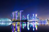 image of singapore night  - Singapore city at night - JPG