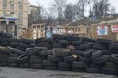 KIEV, UKRAINE -MAR 17, 2014: Downtown of Kiev.Barricades.Riot in Kiev and Western Ukraine.March 17,