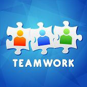 Teamwork And Puzzle Pieces With Person Signs, Flat Design