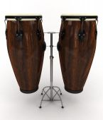 picture of congas  - 3d rendering illustration of two conga drums - JPG