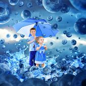 Children In Raining Blueberries With Umbrella