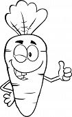 Black And White Winking Carrot Cartoon Character Holding A Thumb Up
