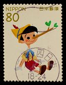 JAPAN - CIRCA 2012: A stamp printed in Japan shows Pinocchio, circa 2012
