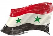 flag of  Syria in the wind with a texture