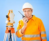 Senior Land Surveyor With Theodelit