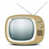stock photo of antenna  - Retro TV with an antenna - JPG