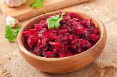stock photo of lenten  - Beet salad Vinaigrette in a wooden bowl - JPG