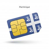 Martinique mobile phone sim card with flag.