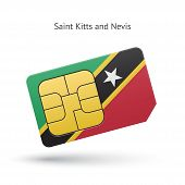 Saint Kitts and Nevis mobile phone sim card with flag.