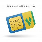 Saint Vincent and the Grenadines phone sim card with flag.