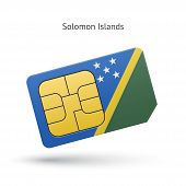 Solomon Islands mobile phone sim card with flag.