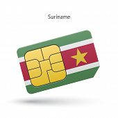 Suriname mobile phone sim card with flag.