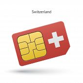 Switzerland mobile phone sim card with flag.