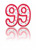 Red number 99 with reflection on a white background