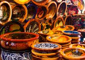 picture of pottery  - Handmade and hand painted pottery at a Mexican market place - JPG