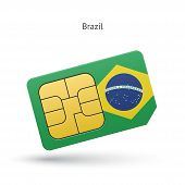Brazil mobile phone sim card with flag.