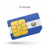 El Salvador mobile phone sim card with flag.