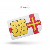 Guernsey mobile phone sim card with flag.
