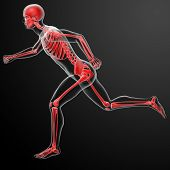 running skeleton by X-rays in red