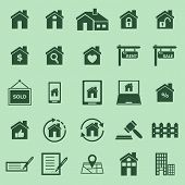 Real Estate Color Icons On Green Background