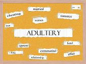 stock photo of adultery  - Adultery Corkboard Word Concept with great terms such as married cheating sex and more - JPG