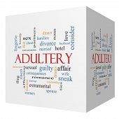 foto of adultery  - Adultery 3D cube Word Cloud Concept with great terms such as sexual affair lies and more - JPG