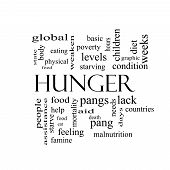 picture of starving  - Hunger Word Cloud Concept in black and white with great terms such as food pangs starving and more - JPG
