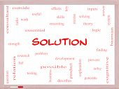 Solution Word Cloud Concept On A Whiteboard