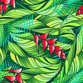 stock photo of heliconia  - Heliconia tropical plant with red flowers seamless pattern - JPG