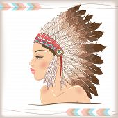 pic of indian chief  - Vector american indian beautiful girl - JPG