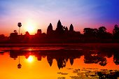 Angkor Wat Sunrise At Siem Reap. Cambodia